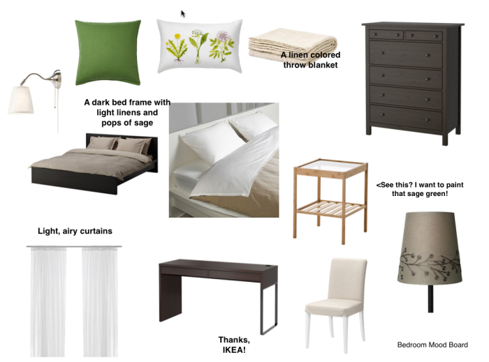 Dark browns, light linens, and pops of sage green. How adult of us, right?